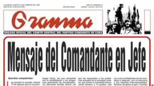Texto publicado en el Gramma anunciando la renuncia de Castro. Foto: AFP