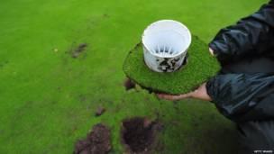 آثار التخريب في ناد هولندي للجولف