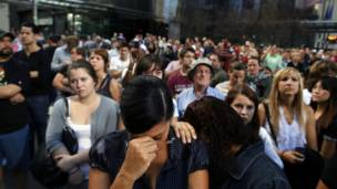 جماهير خلال مراسم إحياء ذكرى الهجمات في نيويورك