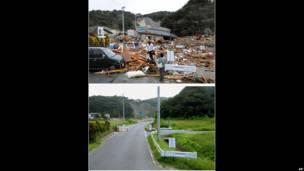 El antes y después tras el tsunami de Japón