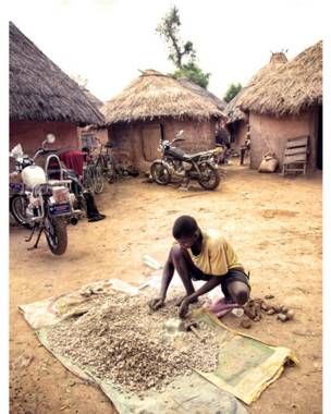 Молодой человек, работающий возле жилища деревенского вождя