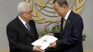 فلسطيني ولسمشر د ملګرو ملتونو عمومي منشي بان کي مون مخې ته د غړیتوب وړاندیز ږدي.