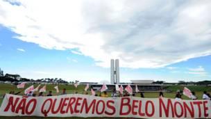 Unjuk rasa di depan Kongres Nasional Brasil