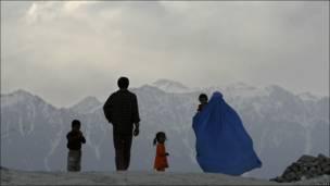 Группа афганцев в Кабуле.