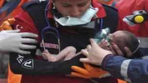 Турецкая девочка, выжившая после землетрясения