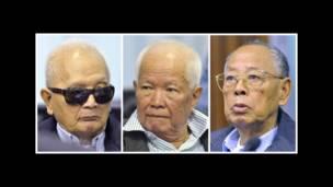 Ba cựu lãnh đạo của chế độ cộng sản Khmer Đỏ (từ trái sang) gồm: nhân vật số hai Nuon Chea - cánh tay phải của lãnh tụ diệt chủng Pol Pot; cựu Chủ tịch Nước Khieu Samphan và cựu ngoại trưởng Ieng Sary.
