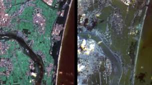 Tsunami – As imagens da Nasa mostram o antes e o depois da costa japonesa ser atingida por um severo tsunami no início deste ano. Na foto à direita é possível ver áreas alagadas.