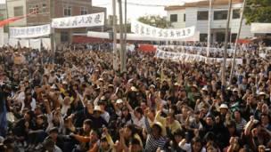 烏坎村村民抗議