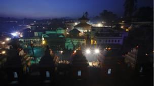 Pashupatinath temple at night