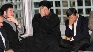 محمود احمدی نژاد و حسن خمینی در آرامگاه آیت الله خمینی رهبر انقلاب ایران