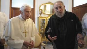Benedicto XVI y Fidel Castro