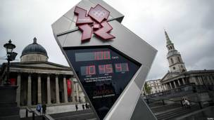 The Olympics countdown timer in London's Trafalgar Square shows 100 days