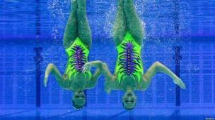 Two synchronised swimmers perform underwater