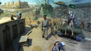 Диорама, на которой представлена война моджахедов с силами советской армии в Афганистане