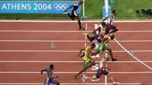 Final de 100 metros lisos en Atenas 2004
