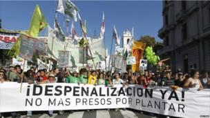 Manifestación promarihuana en Buenos Aires, Argentina