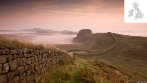 Hadrian's Wall, near Housesteads, Northumberland, England.