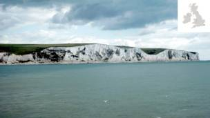 White cliffs in Dover, England.