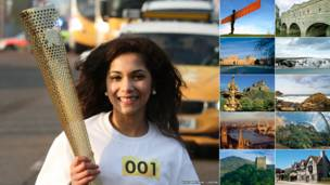 Uma mulher carrega a tocha olímpica durante um ensaio para o Desfile da Tocha Olímpica; ao lado, cartões postais britânicos de locais por onde passará a tocha (Fotos: LOCOG/VisitBritain.com)