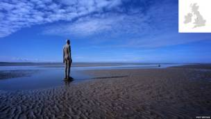 mutum-mutumin Anthony Gormley, Crosby Beach, Merseyside, England