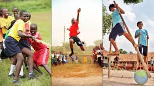 Crianças em Uganda, Gana e Indonésia (Foto: Inspired by Sport)
