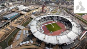 Vista aérea do Estádio Olímpico, Stratford