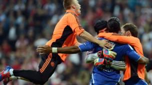 Jugadores de Chelsea celebran
