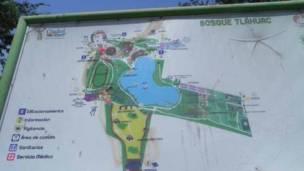 Mapa del lago artificial del Bosque de Tláhuac. Foto: Alberto Nájar.