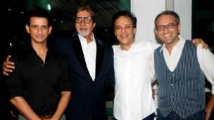 शरमन जोशी, अमिताभ बच्चन, विधु विनोद चोपड़ा और निर्देशक राजेश मापुस्कर