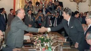 Shugaba Mikhail Gorbachev da Shugaba Ronald Reagan