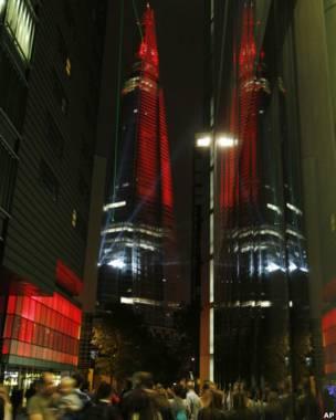 Pantulan The Shard ke gedung lain di London