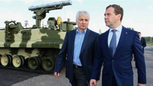 Дмитрий Медведев и Василий Кашин на коломенском полигоне