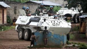 Capacetes-azuis da ONU no Congo.