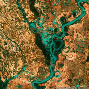 Imagem área do rio Mississippi, nos EUA.