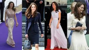 Kate Middleton luciendo diferentes vestidos