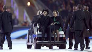Mandela e Graça Machel, na Copa do Mundo
