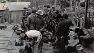 Uno de los pirmeros campamentos de las FARC