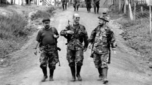 Comandantes de las FARC en la zona de distensión de El Caguán