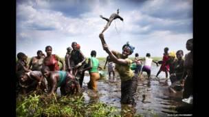 امرأة تقتل سحلية مائية في زامبيا