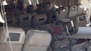 Bagian dalam pesawat Asiana 214, National Transportation Safety Board