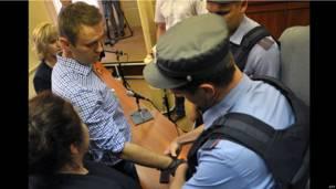 Полицейский надевает наручники на Навального