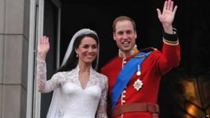 ड्यूक एंड डचेस ऑफ कैम्ब्रिज अपनी शादी के दिन. समाचार एजेंसी पीए.