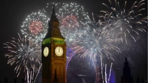 Big Ben dan London Eye saat malam pergantian tahun, BBC image