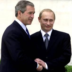 Первая личная встреча Путина и Буша на окраине Любляны
