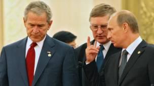 Буш и Путин 8 августа 2008 года, встреча в Пекине