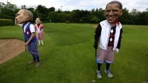 Люди в масках Путина и Обамы, 18 июня 2013 года