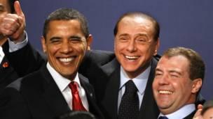 Барак Обама, Сильвио Берлускони и Дмитрий Медведев, 2009 год