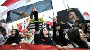 इंस्तांबुल में प्रदर्शन करते मोहम्मद मुर्सी के समर्थक.