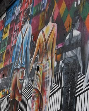 ब्राजील के साओ पाओलो शहर में दीवारों पर चित्रकारी