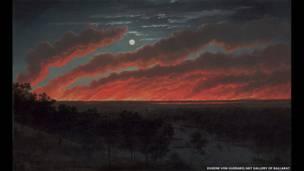 Eugene von Guérard, Bush Fire, 1859. Galería de arte de Ballarat.